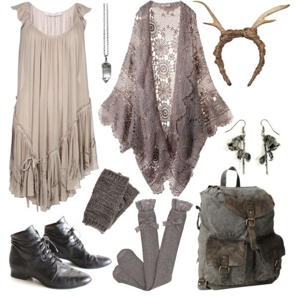 Booties, over-the-knee socks, rucksack, flowy dress and antlers, of course. woodland creature
