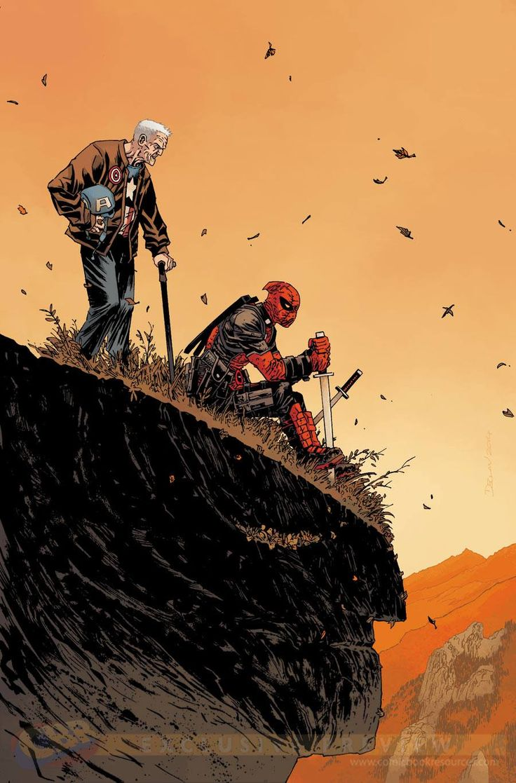Death of Wolverine - Captain America and Deadpool #1 variant cover by Declan Shalvey, colours by Jordie Bellaire