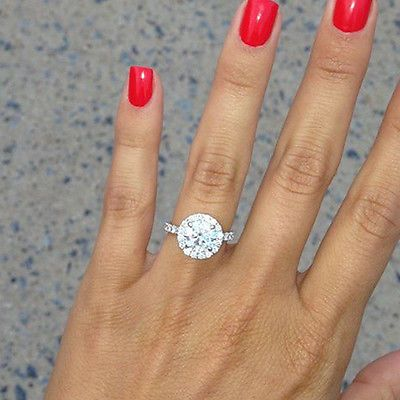 1.50 Ct. Natural Round Cut Halo Pave Diamond Engagement Ring - GIA Certified
