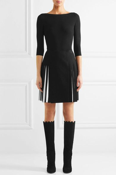Alaïa - Scalloped Suede Knee Boots - Black - IT36.5