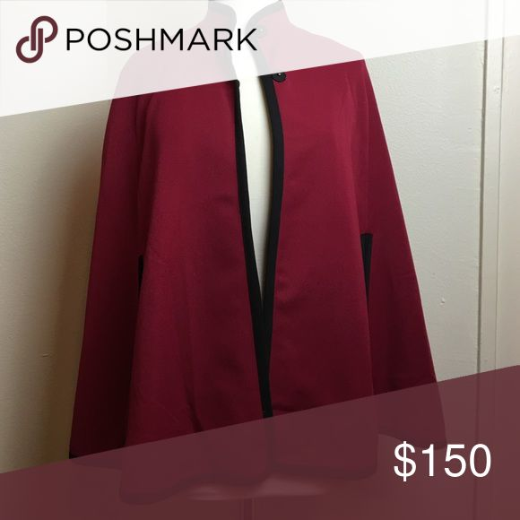 Deep red cape Worn once for photos ... On sale on website for $188 Elle lauri  Jackets & Coats Capes