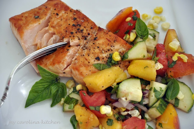 My Carolina Kitchen: How to Broil Salmon in an Electric Broiler + a Peach Salsa
