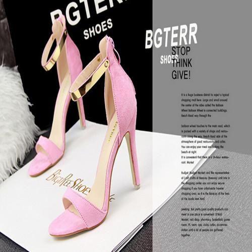 Elegante Sandalo Tacco Alto Scarpe Da Sposa Champagne Rosa Fucsia Scarpe Nero Abbigliamento Donna Del Partito