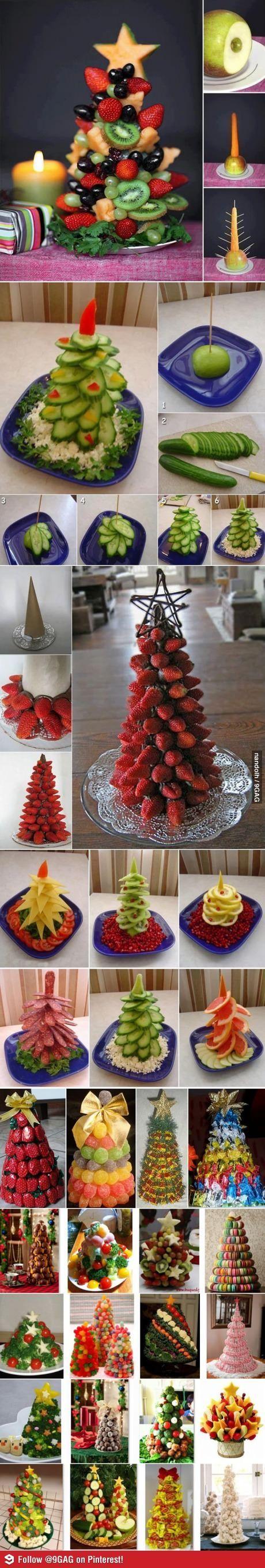 Arbol de navidad hecho con frutas y verduras. Delicioso!