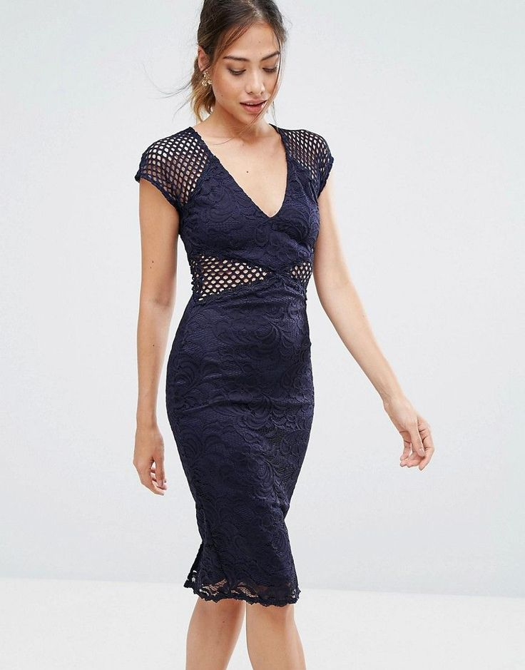 AX Paris Navy V Neck Mesh Lace Bodycon Midi Dress - Navy
