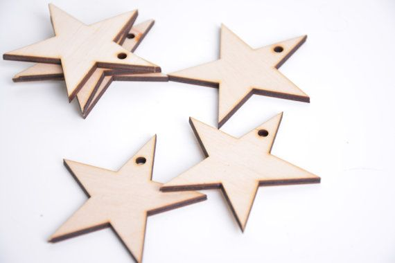 set of 25 wooden star shapes, Christmas tree decor, gift packaging winter season holiday shape table tag set DIY unfinished laser cut cutout