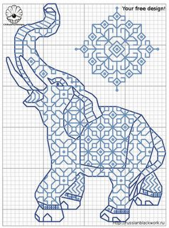 Free Blackwork patterns - yay, elephant!
