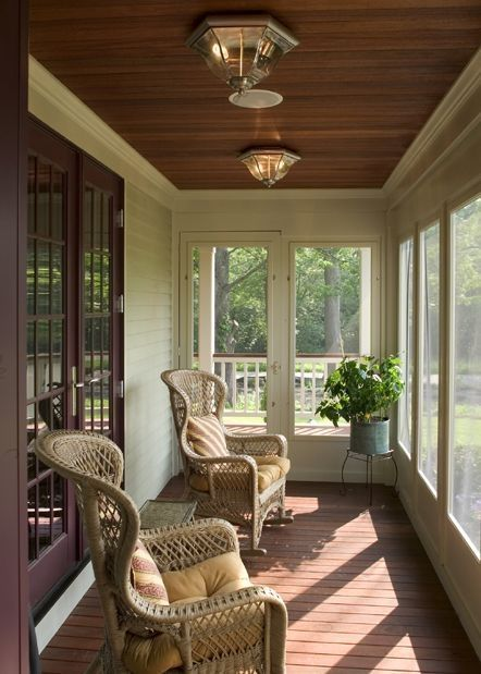 Small kitchens can be frustratingly crammed, especially narrow ones, but there are always a few design solutions that could transform small space into a stylish room. Narrow Sunroom Design Ideas   House with porch, Screened porch designs, Porch design