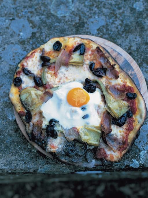 egg, prosciutto, artichokes, olives, mozzarella, tomato sauce & basil pizza topping | Jamie Oliver | Food | Jamie Oliver (UK)