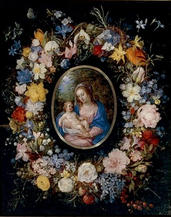 Jan Brueghel the Younger (1601-1678) and Hendrik van Balen (1575-1632) –– Virgin and Child in a Garland of Flowers (700x553)