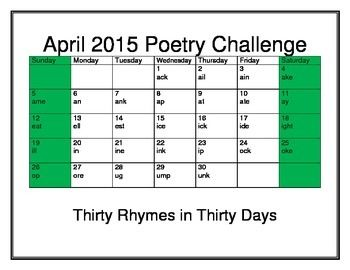 April 2015 Poetry Challenge: write 30 couplets in 30 days based on word families. FREE