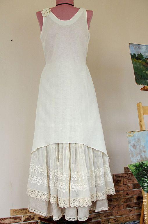 Купить Платье и подъюбник из натурального льна - серый, в полоску, лен ручная работа, лен 100%