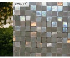 Rabbitgoo®Pellicola Per Finestre e Vetri-3D Mosaico Decorativa,Autoadesive,Anti-UV,Controllo di Calore, Privacy 90cm x 200cm