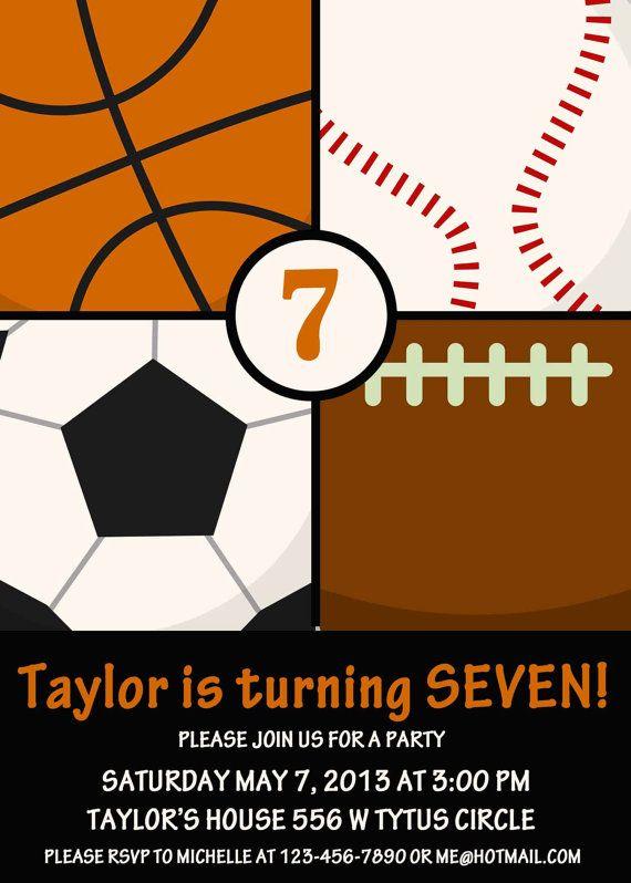sports birthday invitation sports birthday party by STMDesign, $15.00