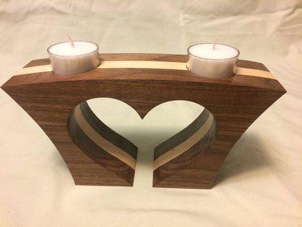 heart shaped tea light candle holder #woodworkingideas