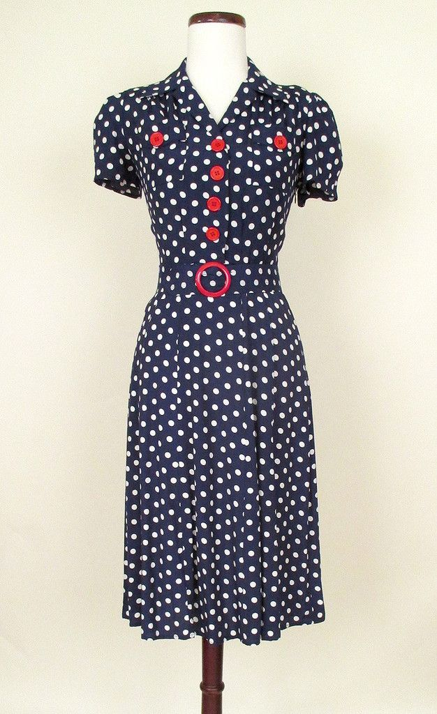 1940s Style Dresses Fashion Clothing: 1940s Style Retro Reproduction Swing Dress Late 30s WWII