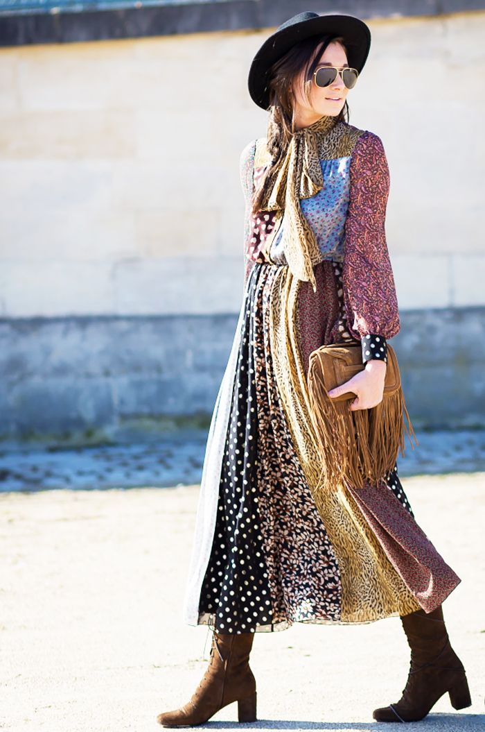 Danielle Bernstein in long Saint Laurent patchwork dress with 70s lace up boots and Pierre Hardy suede fringe bag