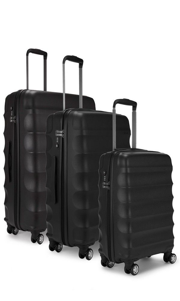 Need to invest in some luggage. I travel too much not to.   Juno 3 Piece Suitcase Set Black   Hard Suitcase   Antler UK