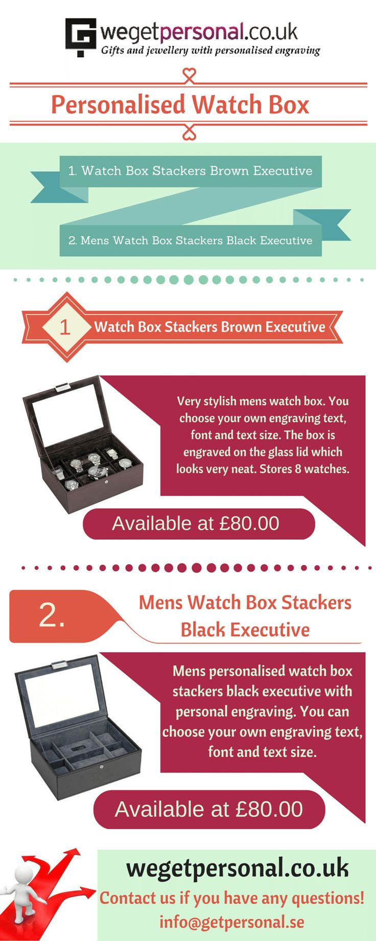 Do you want to buy present on this father's day? Shop for fashionable and classy personalised watch box from We Get Personal UK which makes your father happy. You can choose your own engraving text, font and text size to make it more personalised. Order today and you will have it delivered with engraving in only a few days!