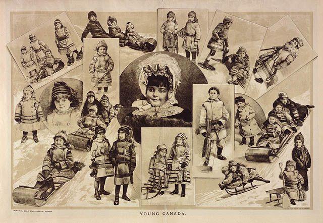 Jeune Canada, lithographie de Henri Julien, publié dans un numéro sur le carnaval du Montreal Daily Star.   Bibliothèque et Archives Canada, collection Henri Julien (R5936), MIKAN: 2895063.