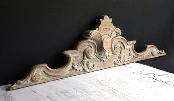 Large Antique French Wooden Pediment Fronton Wall Decoration