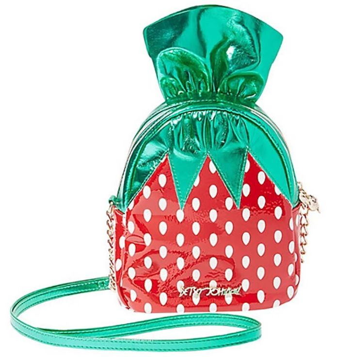 "NEW BETSEY JOHNSON Red/Green ""KITSCH STRAWBERRY"" Crossbody Handbag -SALE #BetseyJohnson #KITSCHSTRAWBERRYCrossbodyHandbag"