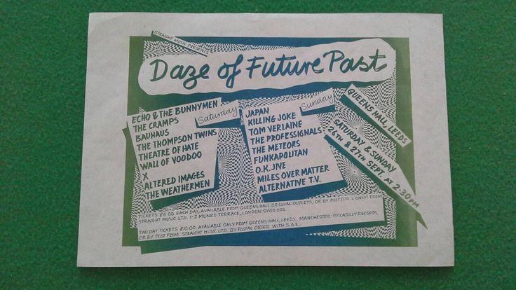 Daze of Future Past 1981  gig flyer  21cm x 15cm The Cramps, Killing Joke, Bauhaus, Theatre of Hate, The Professionals, Japan, Tom Verlaine by bastarduk on Etsy