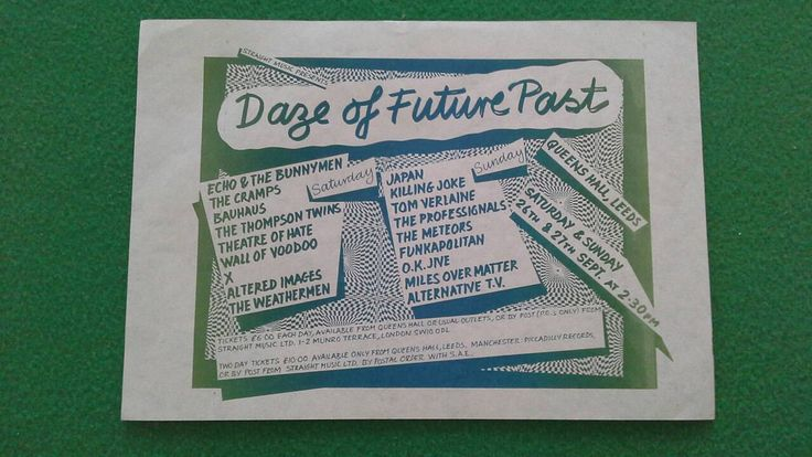 Daze of Future Past 1981  gig flyer  21cm x 15cm The Cramps, Killing Joke, Bauhaus, Theatre of Hate, The Professionals, Japan, Tom Verlaine by bastarduk on Etsy