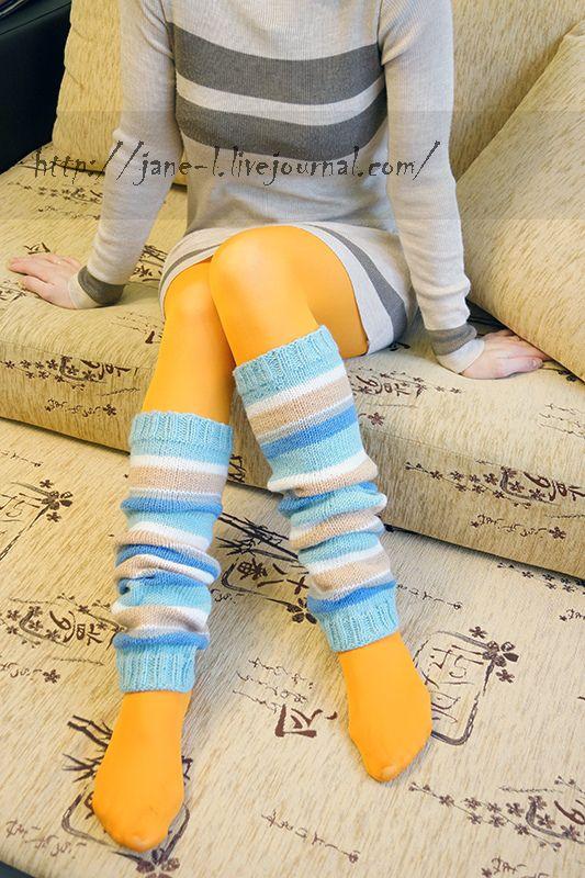 Handmade knitted leg warmers. Вязаные гетры для танцев, теплые гетры, гетры спицами, связать гетры спицами, полосатые гетры.  Очень хороши в холодную погоду, греют :)