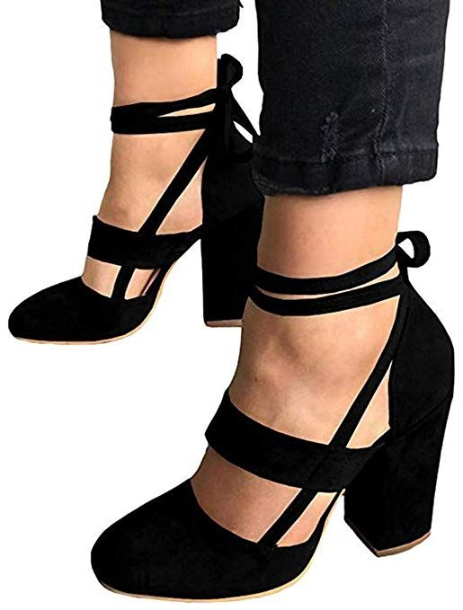 aa6861311f75 Huiyuzhi Womens Chunky Ankle Strappy Sandal Pumps Lace Up High Heels (10.5  B(M) US