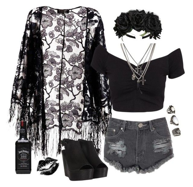 """""""Gothic Floral!"""" by heyysusana ❤ liked on Polyvore featuring Pussycat, NLY Trend, Glamorous, AllSaints, Manic Panic NYC and H&M"""