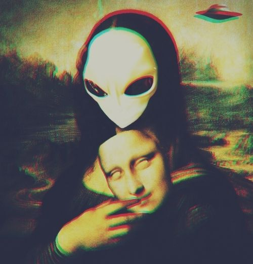 art, color, cool, mona lisa, monalisa, ovni, paint, psychedelic, stone, ufo, weird