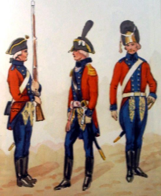 Regiment of Foot Guard of the Grand Duchy of Lithuania in 1792. From left: private, officer, grenadier. Fig. B. Gembarzewski.