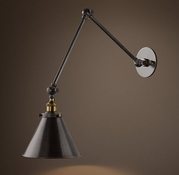 20Th C. Library Double Sconce Aged Steel