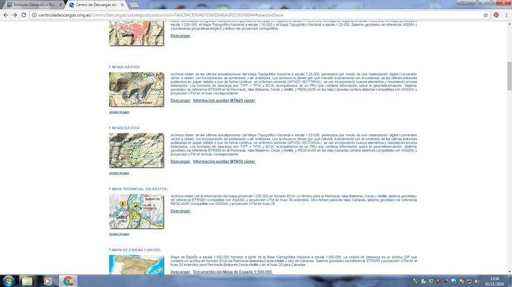 En la web del IGN podemos descargar del catálogo de productos los mapas topográficos de escala 1:50000 o 1:25000 que necesitemos para el diseño del itinerario