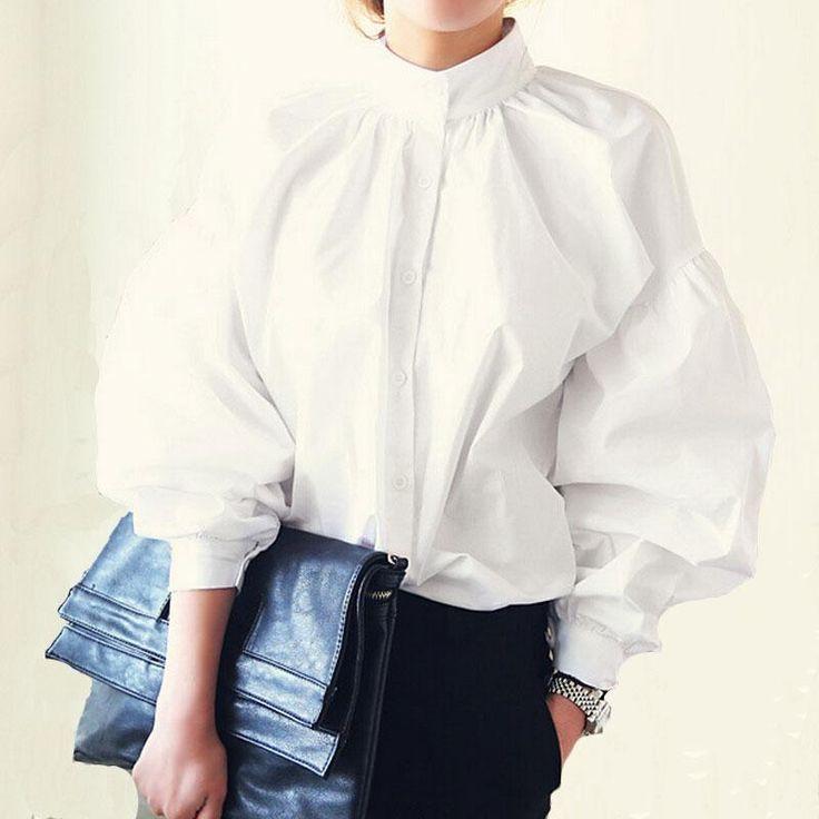 Women Lantern Sleeve Blouse Ladies Fashion Long Cotton Tops Female Vintage Oversize Loose Stand Collar Puff White Shirts #Affiliate