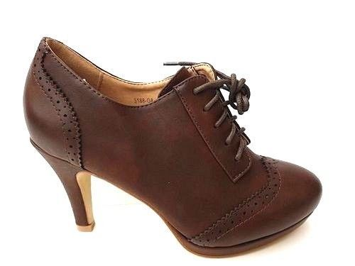 NEW WOMEN LADIES HIGH HEEL SLIM BROWN LACE UP ANKLE BOOTS  SIZE 3-7.5