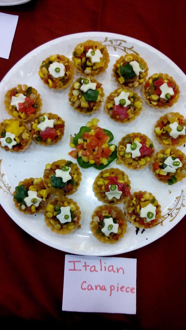Prestige Bandhan, a multi-cuisine cookery show - held at Prestige Smart Kitchen store, Jamnagar. Italian Canapiece dish prepared by Chef Kiran Madlani