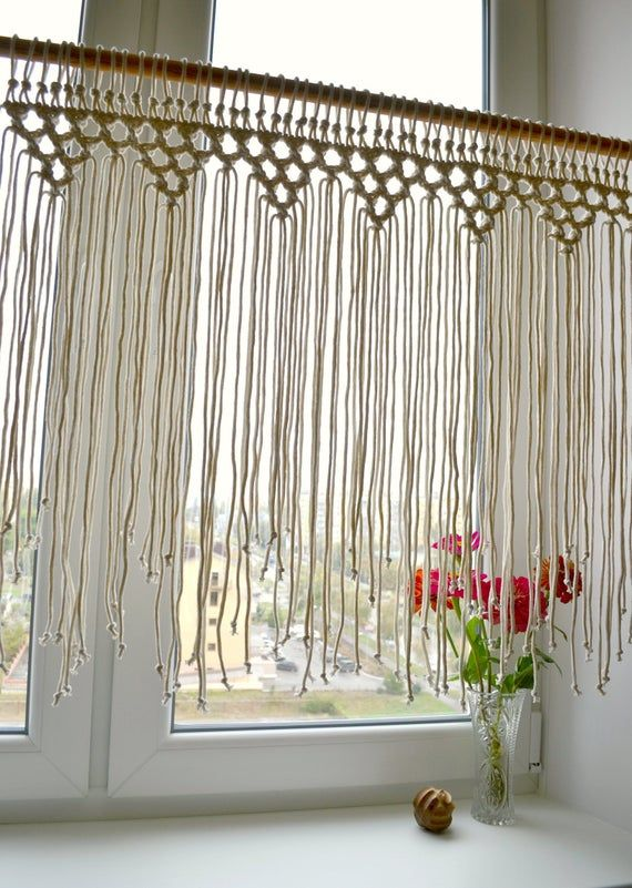 Macrame Window Curtain Macrame Door Curtain International Shipping