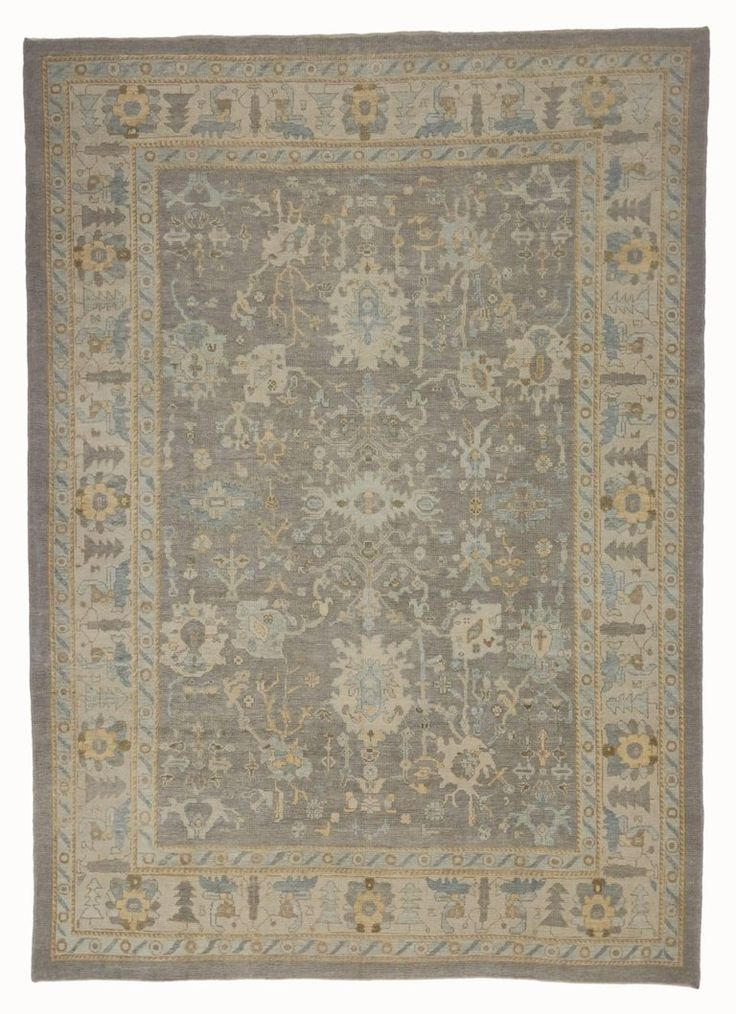 Modern Turkish Oushak Rug with Transitional Style and Light Colors   From a unique collection of antique and modern turkish rugs at https://www.1stdibs.com/furniture/rugs-carpets/turkish-rugs/