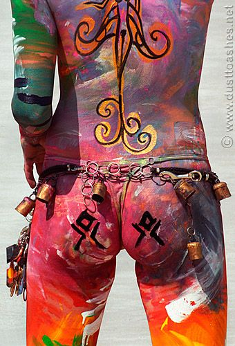 Burning Man Women Body Painting | Mars or Bust Burning Man Body Painting Theme from 2001 Seven Ages