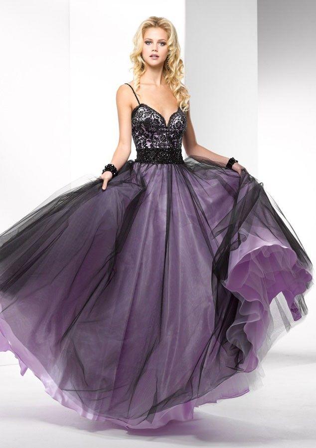 Purple And Black Lace Prom Dresses - Missy Dress