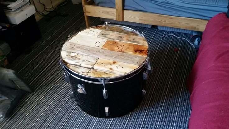 Bass drum pallet wood coffee table