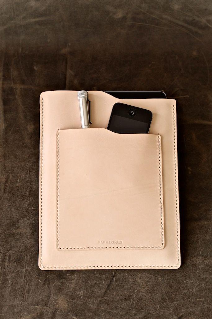 "Bas and Lokes Handmade Leather Goods - ""Windsor"" Natural Veg Tan Handmade Leather iPad Air Sleeve, $165.00 (http://www.basandlokes.com/windsor-natural-veg-tan-handmade-leather-ipad-air-sleeve/)"