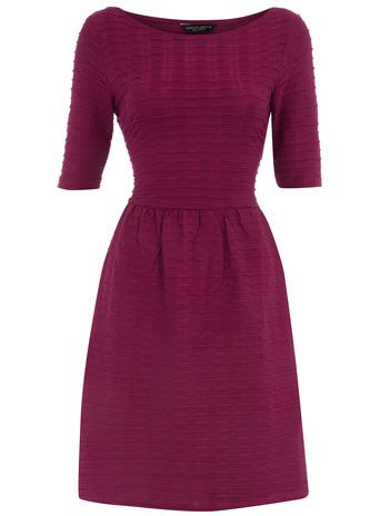 Berry half sleeve flare dress from Dorthy Perkins -- My favorite color to wear in fall.  What a classic shape!
