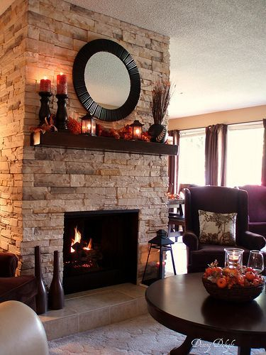 Dining Delight: Fall Mantel/Fireplace Makeover-stone veneer added over brick