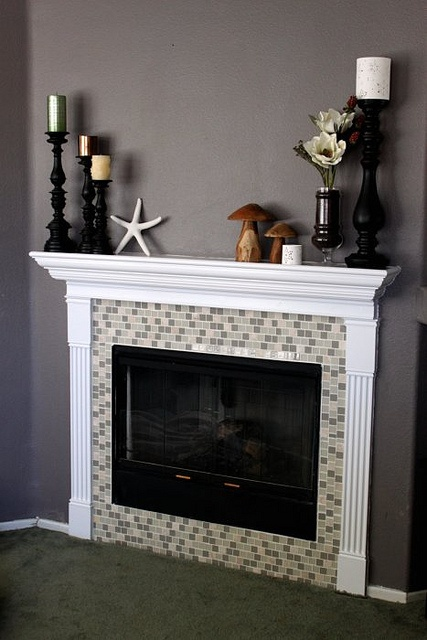 Fireplace Remodel Glass Tile I Want Similar Colors But Square Instead Of Rectangular Tiles RedoLiving Room