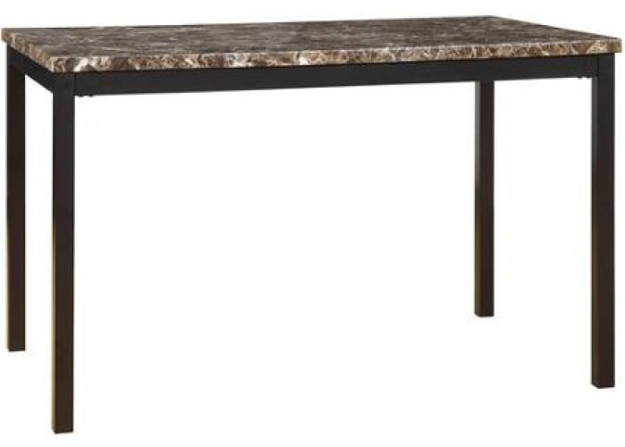 Metal Table With Faux Marble Top Modern Styling Metal Black Durable and Sturdy