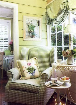charming cottage sunporch - LOVE the green gingham chair!