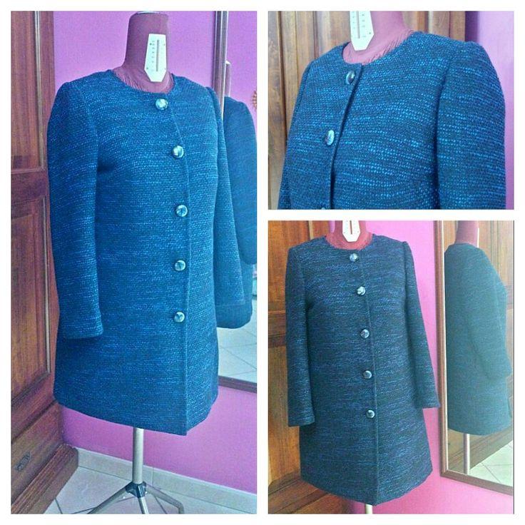 Cappottino senza collo in tessuto chanel di lana. Made by me.
